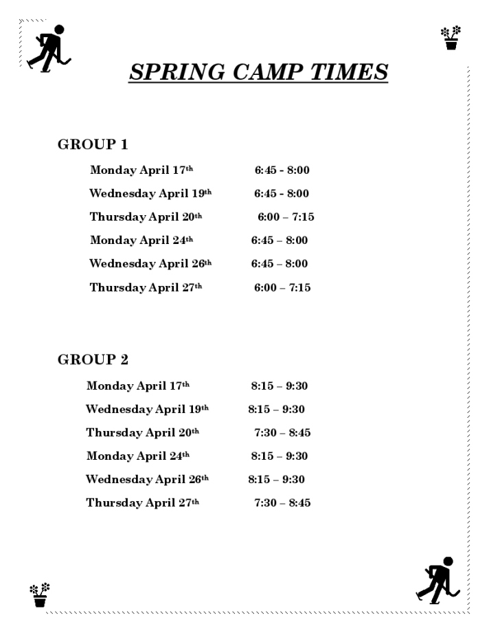 COLD LAKE ICE SPRING CAMP TIMES