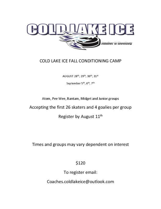 COLD LAKE ICE FALL CONDITIONING CAMP